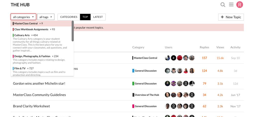 Masterclass Hub Community Snapshot