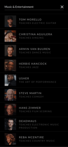 Music & Entertainment Classes on Masterclass