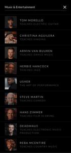 Music & Entertainment Classes on Masterclass