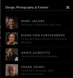 Design, Fashion, Photography Classes on Masterclass