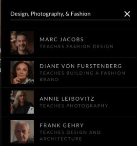 Design, Fashion, Photography Classes on Masterclass