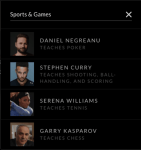 Sports and Games Classes on Masterclass